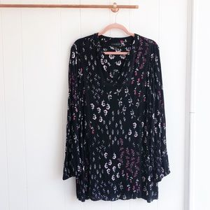 Lane Bryant Black Floral Tunic Top